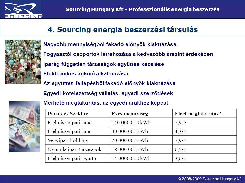 © 2008-2009 Sourcing Hungary Kft. Sourcing Hungary Kft - Professzionális energia beszerzés 4. Sourcing energia beszerzési társulás Nagyobb mennyiségbő