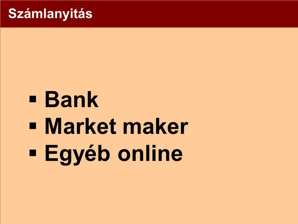 Számlanyitás  Bank  Market maker  Egyéb online