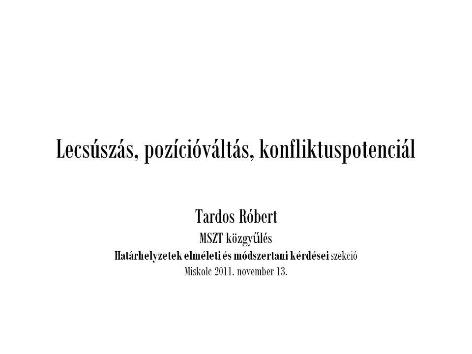 Lecsúszás, pozícióváltás, konfliktuspotenciál Tardos Róbert MSZT közgy ű lés Határhelyzetek elméleti és módszertani kérdései szekció Miskolc 2011.