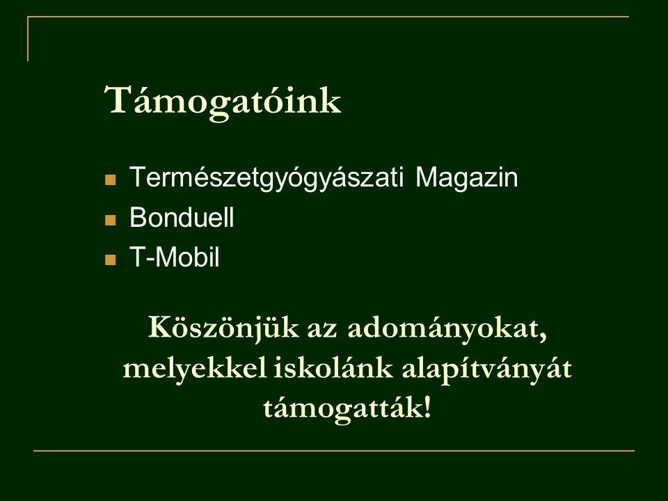 Támogatóink Természetgyógyászati Magazin Bonduell T-Mobil Köszönjük az adományokat, melyekkel iskolánk alapítványát támogatták!