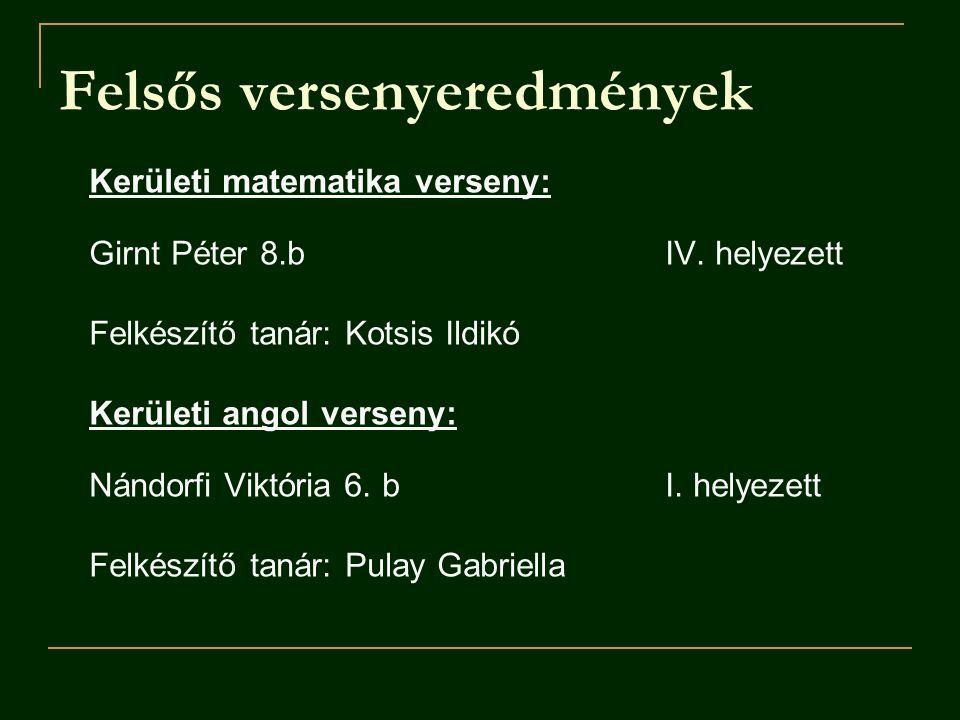 Kerületi matematika verseny: Girnt Péter 8.b IV.