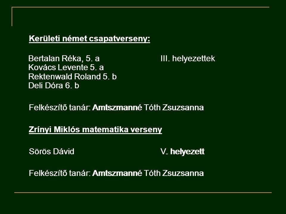 Kerületi német csapatverseny: Bertalan Réka, 5.a III.