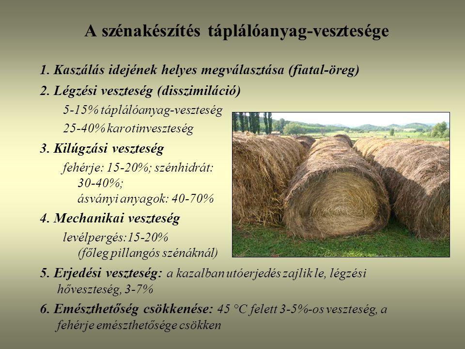 A szénakészítés táplálóanyag-vesztesége 1. Kaszálás idejének helyes megválasztása (fiatal-öreg) 2. Légzési veszteség (disszimiláció) 5-15% táplálóanya