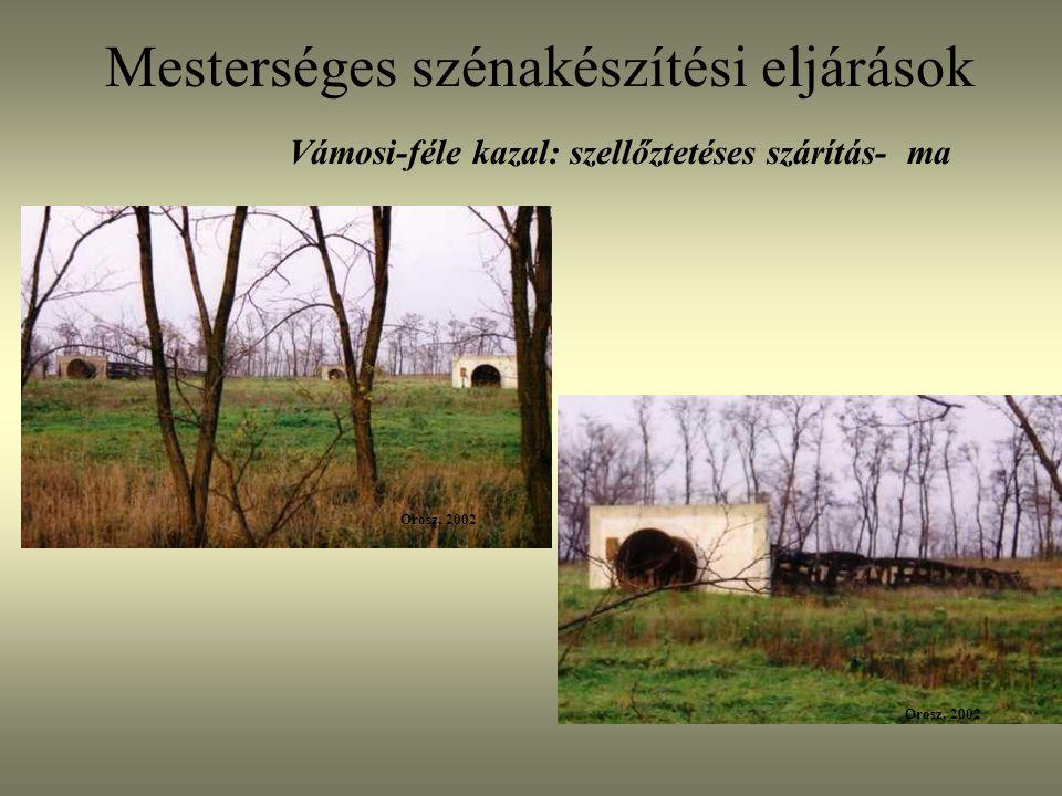 Mesterséges szénakészítési eljárások Vámosi-féle kazal: szellőztetéses szárítás- ma Orosz, 2002