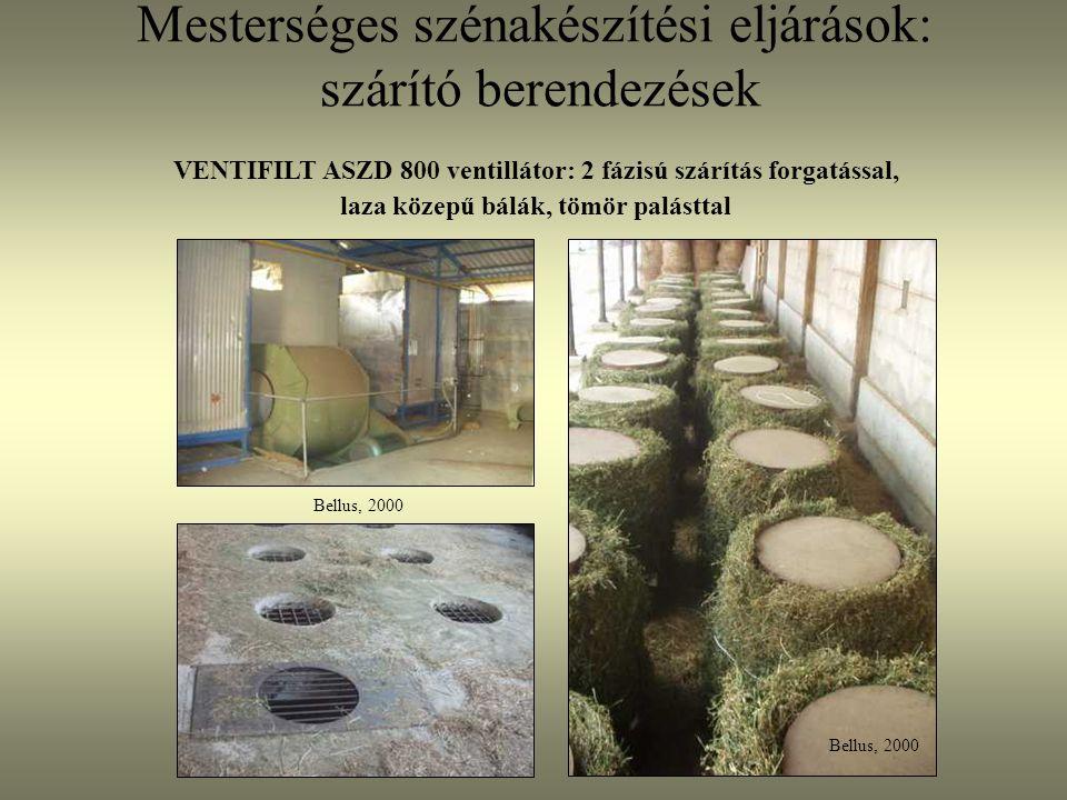 Mesterséges szénakészítési eljárások: szárító berendezések Bellus, 2000 VENTIFILT ASZD 800 ventillátor: 2 fázisú szárítás forgatással, laza közepű bál