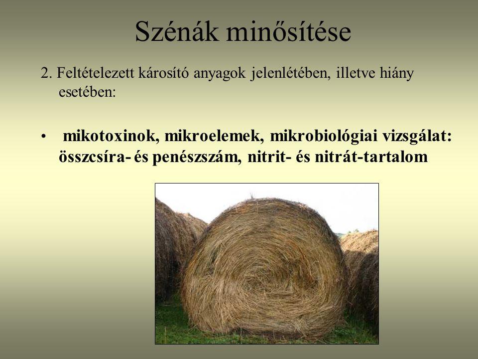2. Feltételezett károsító anyagok jelenlétében, illetve hiány esetében: mikotoxinok, mikroelemek, mikrobiológiai vizsgálat: összcsíra- és penészszám,