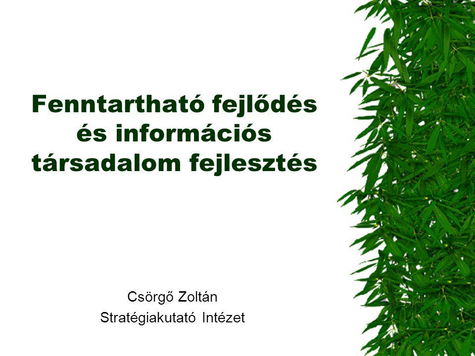 Fenntartható fejlődés és információs társadalom fejlesztés Csörgő Zoltán Stratégiakutató Intézet