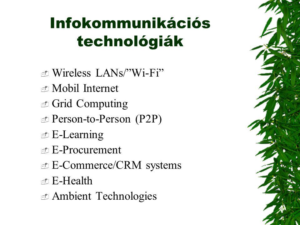 "Infokommunikációs technológiák  Wireless LANs/""Wi-Fi""  Mobil Internet  Grid Computing  Person-to-Person (P2P)  E-Learning  E-Procurement  E-Com"