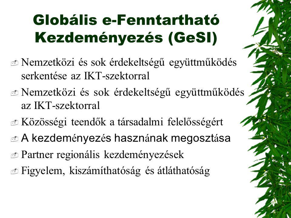 Globális e-Fenntartható Kezdeményezés (GeSI)  Nemzetközi és sok érdekeltségű együttműködés serkentése az IKT-szektorral  Nemzetközi és sok érdekelts