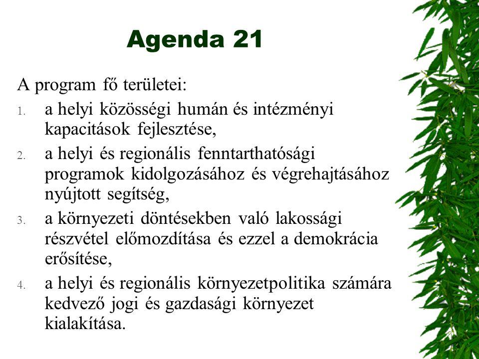 Agenda 21 A program fő területei: 1. a helyi közösségi humán és intézményi kapacitások fejlesztése, 2. a helyi és regionális fenntarthatósági programo
