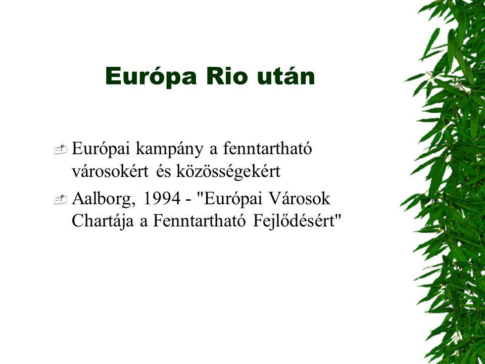 Európa Rio után  Európai kampány a fenntartható városokért és közösségekért  Aalborg, 1994 -