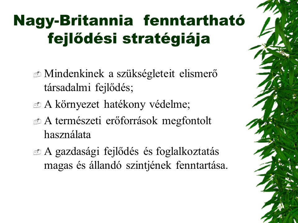 Nagy-Britannia fenntartható fejlődési stratégiája  Mindenkinek a szükségleteit elismerő társadalmi fejlődés;  A környezet hatékony védelme;  A term
