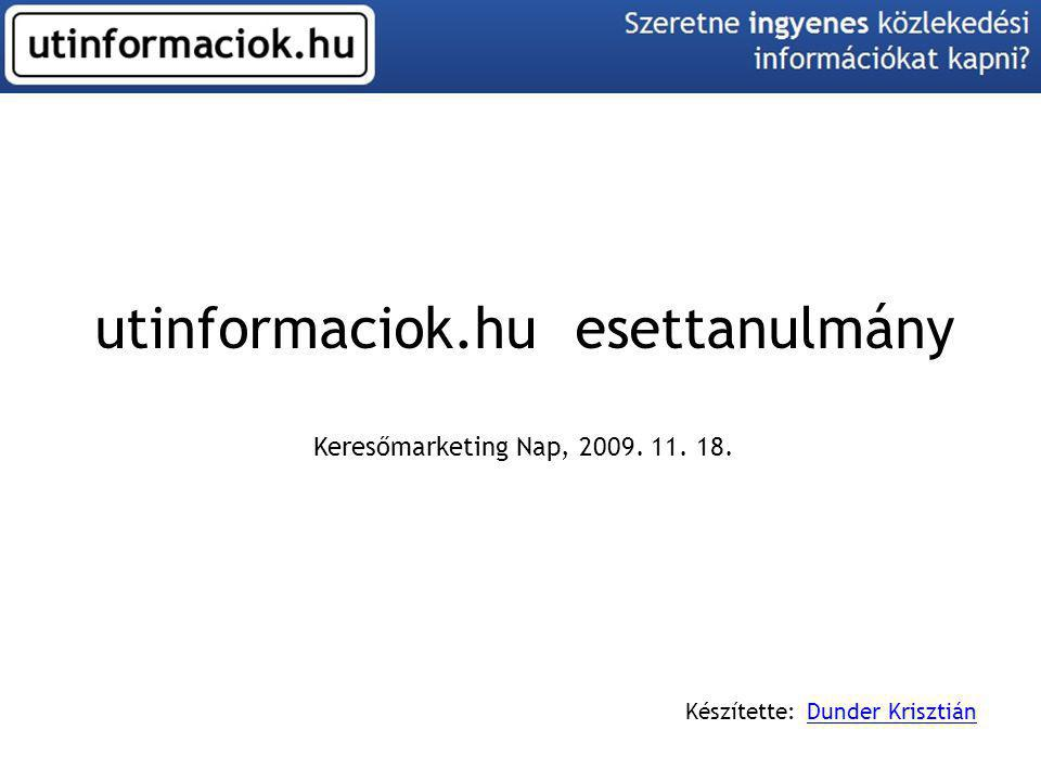 utinformaciok.hu esettanulmány Keresőmarketing Nap, 2009. 11. 18. Készítette: Dunder KrisztiánDunder Krisztián