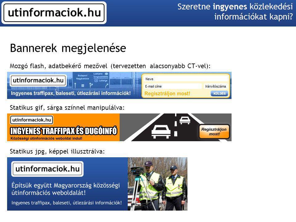 Bannerek megjelenése Mozgó flash, adatbekérő mezővel (tervezetten alacsonyabb CT-vel): Statikus gif, sárga színnel manipulálva: Statikus jpg, képpel i