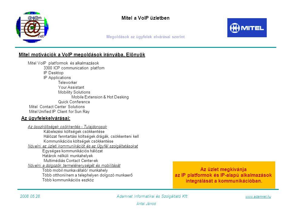Mitel a VoIP üzletben Megoldások az ügyfelek elvárásai szerint 2008 05.28.