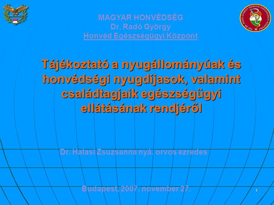 1 Budapest, 2007. november 27. Tájékoztató a nyugállományúak és honvédségi nyugdíjasok, valamint családtagjaik egészségügyi ellátásának rendjéről MAGY