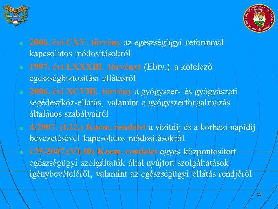 13 2006. évi CXV. törvény az egészségügyi reformmal kapcsolatos módosításokról 1997. évi LXXXIII. törvényt (Ebtv.). a kötelező egészségbiztosítási ell