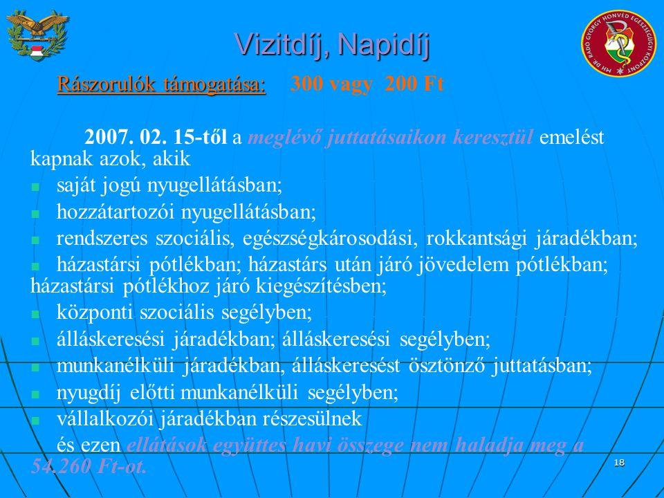 18 Vizitdíj, Napidíj Rászorulók támogatása: Rászorulók támogatása: 300 vagy 200 Ft 2007. 02. 15-től a meglévő juttatásaikon keresztül emelést kapnak a