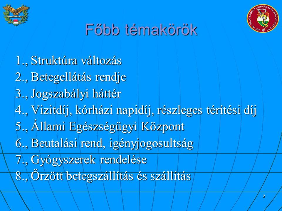 2 Főbb témakörök 1., Struktúra változás 2., Betegellátás rendje 3., Jogszabályi háttér 4., Vizitdíj, kórházi napidíj, részleges térítési díj 5., Állam