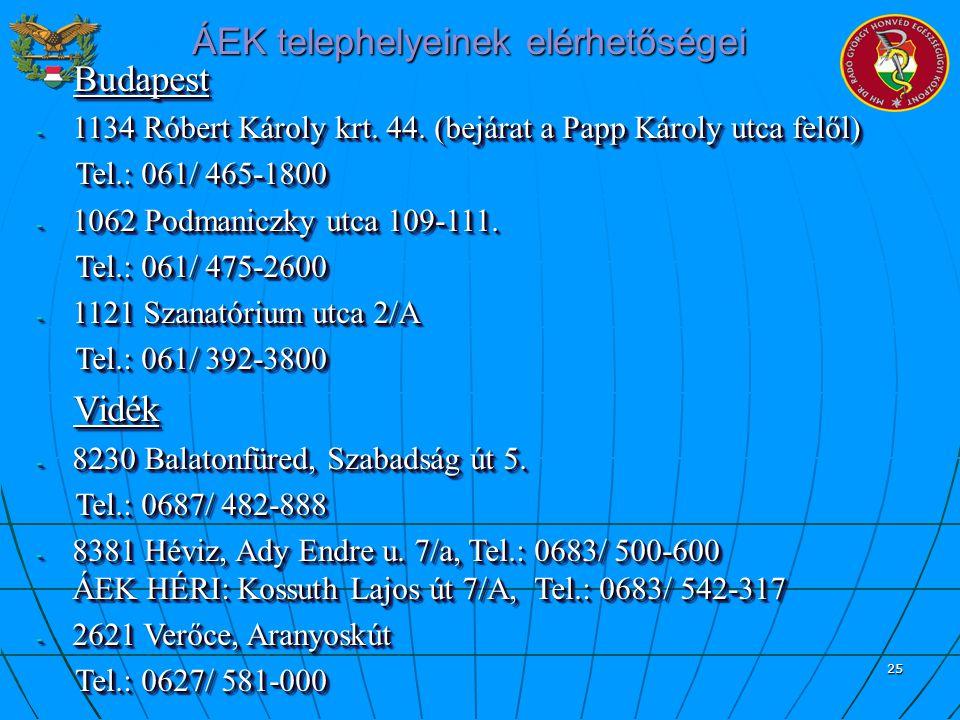 25 ÁEK telephelyeinek elérhetőségei Budapest Budapest - 1134 Róbert Károly krt. 44. (bejárat a Papp Károly utca felől) Tel.: 061/ 465-1800 Tel.: 061/