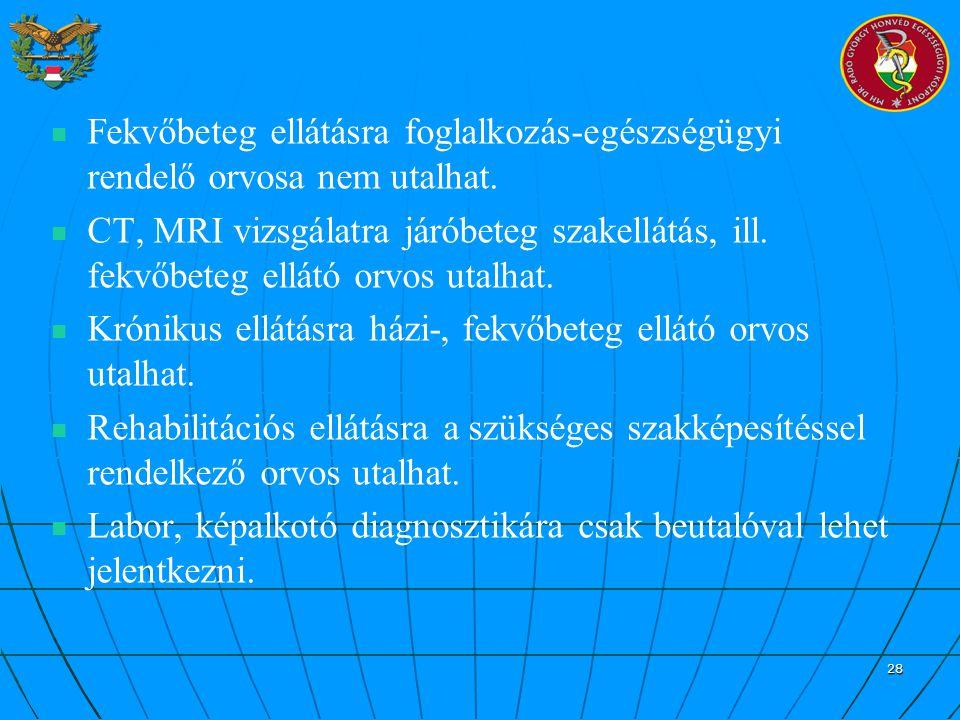 28 Fekvőbeteg ellátásra foglalkozás-egészségügyi rendelő orvosa nem utalhat. CT, MRI vizsgálatra járóbeteg szakellátás, ill. fekvőbeteg ellátó orvos u