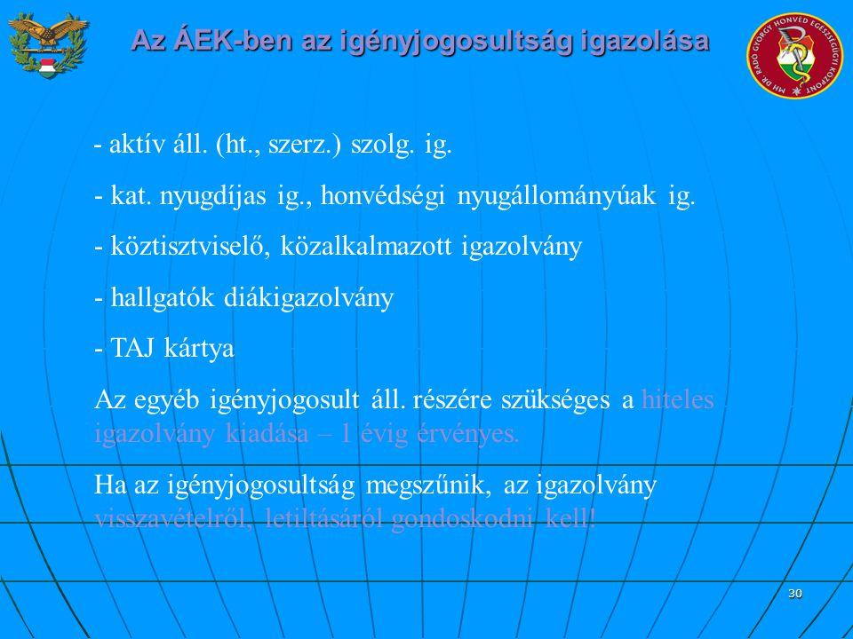 30 Az ÁEK-ben az igényjogosultság igazolása - aktív áll. (ht., szerz.) szolg. ig. - kat. nyugdíjas ig., honvédségi nyugállományúak ig. - köztisztvisel