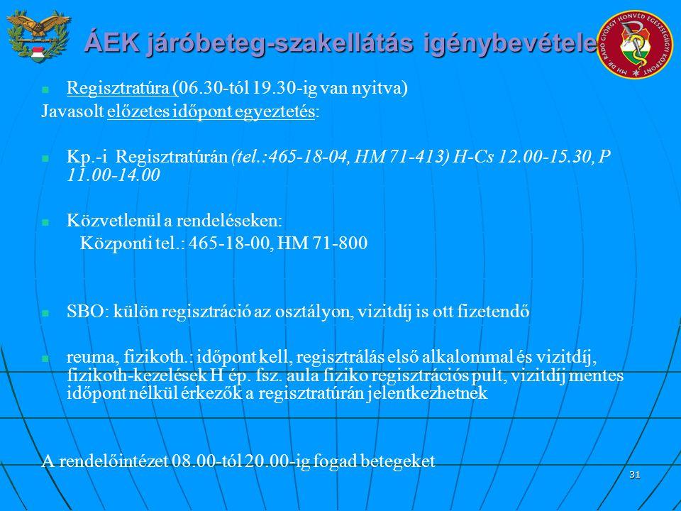 31 ÁEK járóbeteg-szakellátás igénybevétele Regisztratúra (06.30-tól 19.30-ig van nyitva) Javasolt előzetes időpont egyeztetés: Kp.-i Regisztratúrán (t