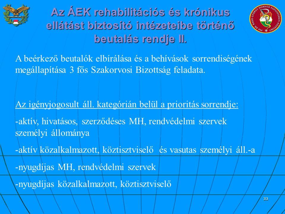 33 Az ÁEK rehabilitációs és krónikus ellátást biztosító intézeteibe történő beutalás rendje II. A beérkező beutalók elbírálása és a behívások sorrendi