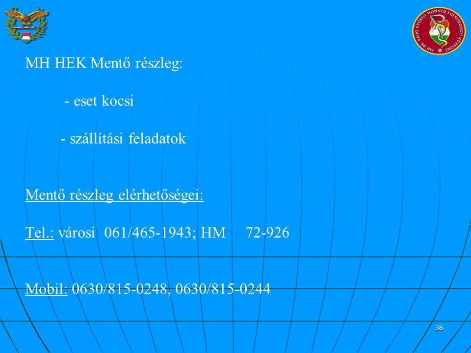 38 MH HEK Mentő részleg: - eset kocsi - szállítási feladatok Mentő részleg elérhetőségei: Tel.: városi 061/465-1943; HM 72-926 Mobil: 0630/815-0248, 0