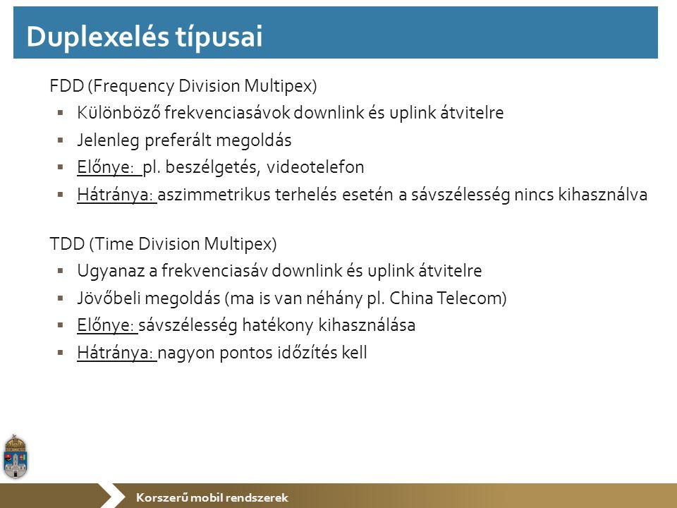Korszerű mobil rendszerek FDD (Frequency Division Multipex)  Különböző frekvenciasávok downlink és uplink átvitelre  Jelenleg preferált megoldás  Előnye: pl.