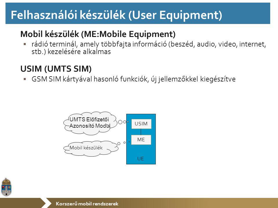 Korszerű mobil rendszerek Mobil készülék (ME:Mobile Equipment)  rádió terminál, amely többfajta információ (beszéd, audio, video, internet, stb.) kezelésére alkalmas USIM (UMTS SIM)  GSM SIM kártyával hasonló funkciók, új jellemzőkkel kiegészítve USIM ME UE Mobil készülék UMTS Előfizetői Azonosító Modul Felhasználói készülék (User Equipment)