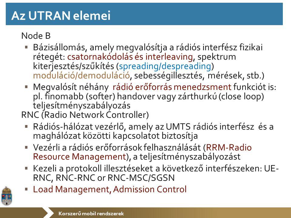 Korszerű mobil rendszerek Node B  Bázisállomás, amely megvalósítja a rádiós interfész fizikai rétegét: csatornakódolás és interleaving, spektrum kiterjesztés/szűkítés (spreading/despreading) moduláció/demoduláció, sebességillesztés, mérések, stb.)  Megvalósít néhány rádió erőforrás menedzsment funkciót is: pl.