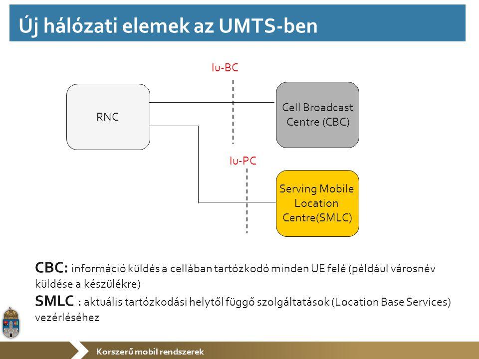 Korszerű mobil rendszerek CBC: információ küldés a cellában tartózkodó minden UE felé (például városnév küldése a készülékre) SMLC : aktuális tartózkodási helytől függő szolgáltatások (Location Base Services) vezérléséhez RNC Cell Broadcast Centre (CBC) Iu-BC Serving Mobile Location Centre(SMLC) Iu-PC Új hálózati elemek az UMTS-ben