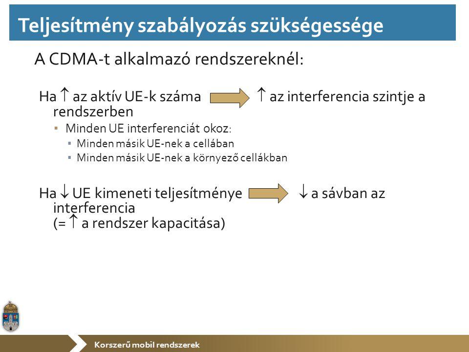 Korszerű mobil rendszerek A CDMA-t alkalmazó rendszereknél: Ha  az aktív UE-k száma  az interferencia szintje a rendszerben ▪ Minden UE interferenciát okoz: ▪ Minden másik UE-nek a cellában ▪ Minden másik UE-nek a környező cellákban Ha  UE kimeneti teljesítménye  a sávban az interferencia (=  a rendszer kapacitása) Teljesítmény szabályozás szükségessége