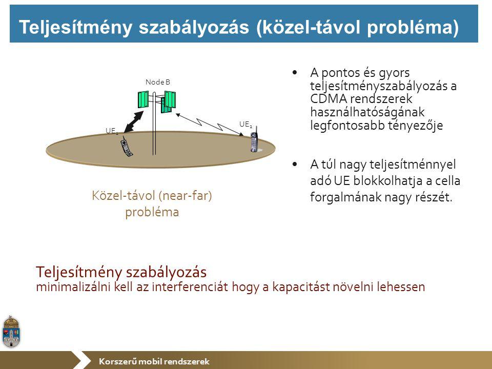 Korszerű mobil rendszerek Teljesítmény szabályozás minimalizálni kell az interferenciát hogy a kapacitást növelni lehessen UE 2 UE 1 Node B A pontos és gyors teljesítményszabályozás a CDMA rendszerek használhatóságának legfontosabb tényezője A túl nagy teljesítménnyel adó UE blokkolhatja a cella forgalmának nagy részét.