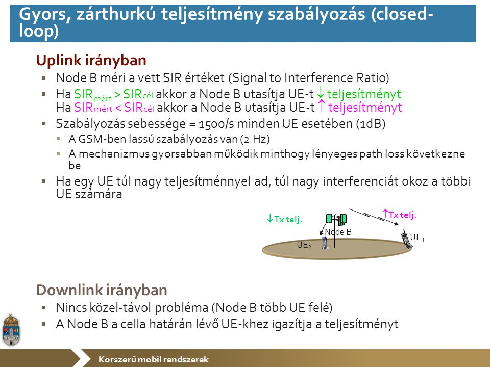 Korszerű mobil rendszerek Uplink irányban  Node B méri a vett SIR értéket (Signal to Interference Ratio)  Ha SIR mért > SIR cél akkor a Node B utasítja UE-t  teljesítményt Ha SIR mért < SIR cél akkor a Node B utasítja UE-t  teljesítményt  Szabályozás sebessége = 1500/s minden UE esetében (1dB) ▪ A GSM-ben lassú szabályozás van (2 Hz) ▪ A mechanizmus gyorsabban működik minthogy lényeges path loss következne be  Ha egy UE túl nagy teljesítménnyel ad, túl nagy interferenciát okoz a többi UE számára Downlink irányban  Nincs közel-távol probléma (Node B több UE felé)  A Node B a cella határán lévő UE-khez igazítja a teljesítményt UE 2 UE 1 Node B  Tx telj.