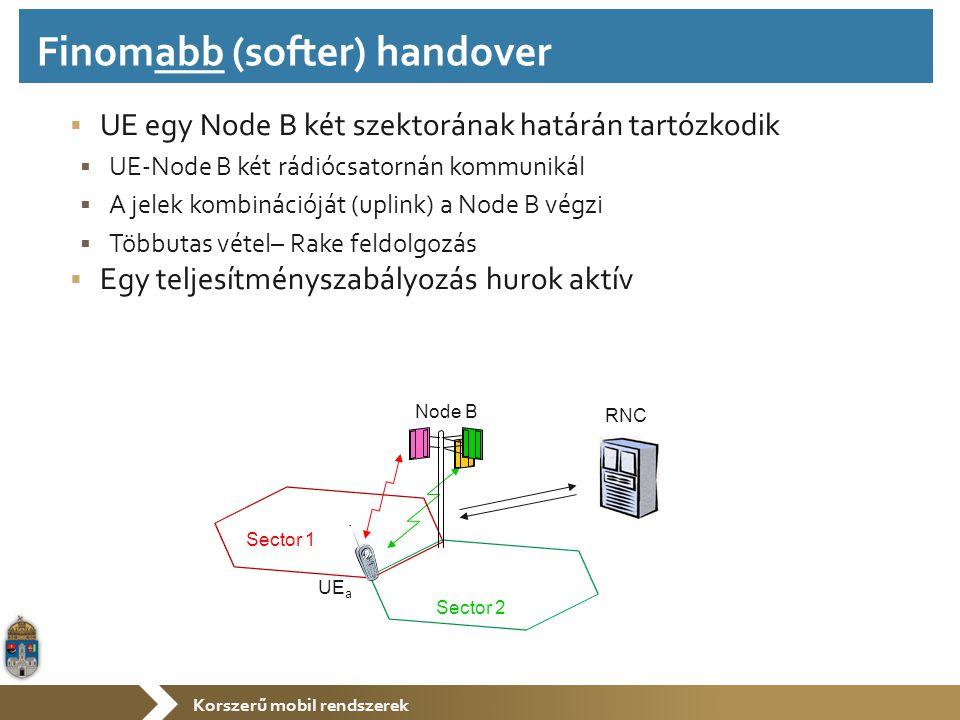 Korszerű mobil rendszerek  UE egy Node B két szektorának határán tartózkodik  UE-Node B két rádiócsatornán kommunikál  A jelek kombinációját (uplin