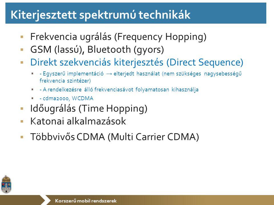 Korszerű mobil rendszerek  Frekvencia ugrálás (Frequency Hopping)  GSM (lassú), Bluetooth (gyors)  Direkt szekvenciás kiterjesztés (Direct Sequence