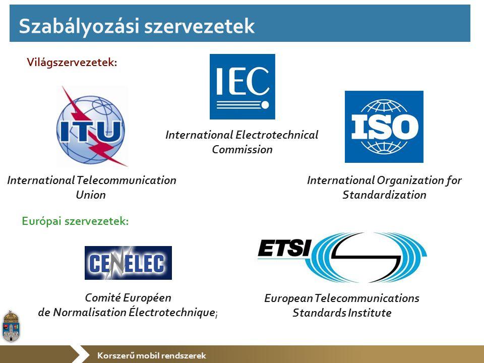 Korszerű mobil rendszerek Institute of Electrical and Electronics Engineers Internet Engineering Task Force Nemzetközi: International Federation for Information Processing Magyar: Független szakmai szervezetek