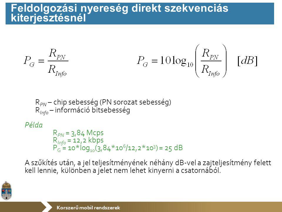 Korszerű mobil rendszerek R PN – chip sebesség (PN sorozat sebesség) R Info – információ bitsebesség Példa R PN = 3,84 Mcps R Info = 12,2 kbps P G = 1