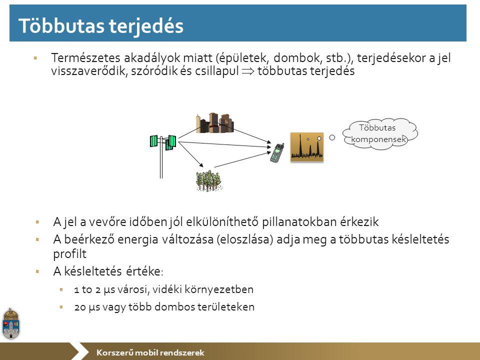 Korszerű mobil rendszerek  Természetes akadályok miatt (épületek, dombok, stb.), terjedésekor a jel visszaverődik, szóródik és csillapul  többutas terjedés  A jel a vevőre időben jól elkülöníthető pillanatokban érkezik  A beérkező energia változása (eloszlása) adja meg a többutas késleltetés profilt  A késleltetés értéke:  1 to 2 µs városi, vidéki környezetben  20 µs vagy több dombos területeken Többutas komponensek Többutas terjedés