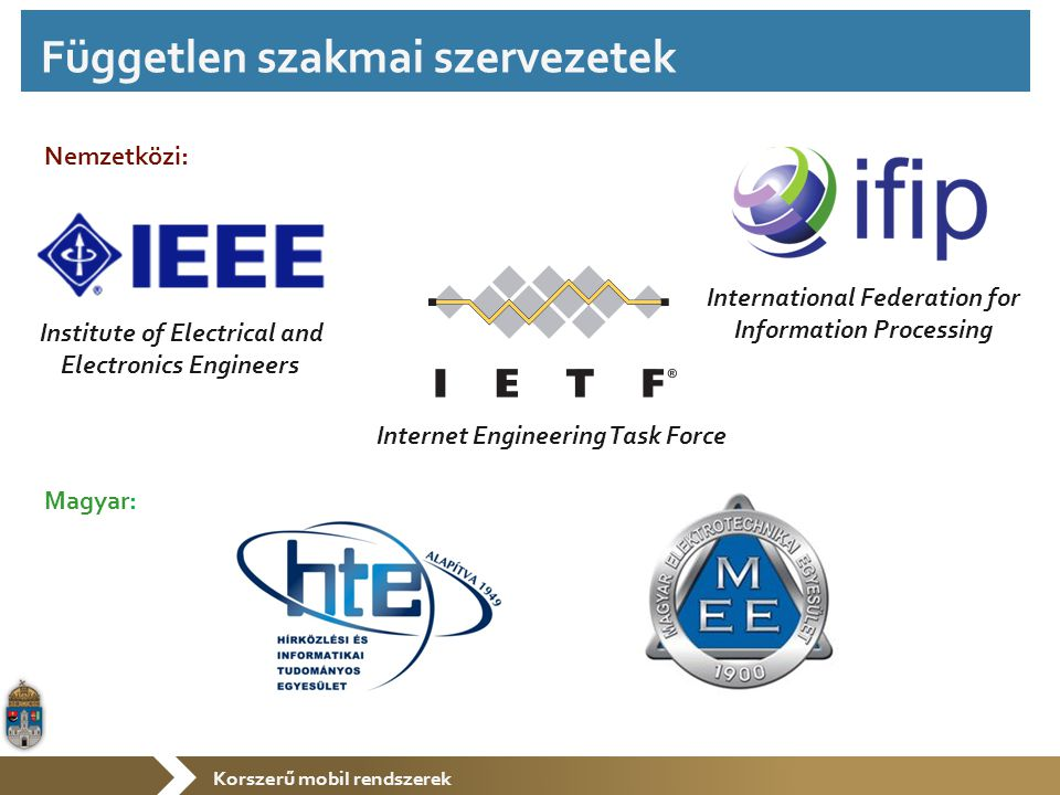 Korszerű mobil rendszerek Institute of Electrical and Electronics Engineers Internet Engineering Task Force Nemzetközi: International Federation for I