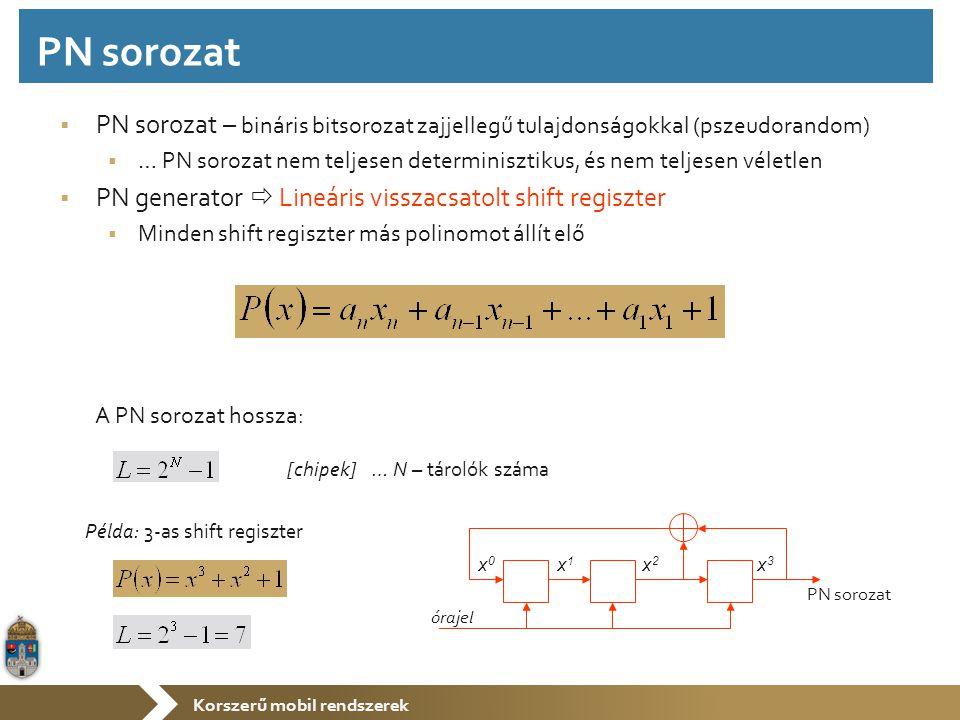 Korszerű mobil rendszerek  PN sorozat – bináris bitsorozat zajjellegű tulajdonságokkal (pszeudorandom)  … PN sorozat nem teljesen determinisztikus, és nem teljesen véletlen  PN generator  Lineáris visszacsatolt shift regiszter  Minden shift regiszter más polinomot állít elő A PN sorozat hossza: x0x0 x1x1 x2x2 x3x3 órajel PN sorozat [chipek] … N – tárolók száma Példa: 3-as shift regiszter PN sorozat