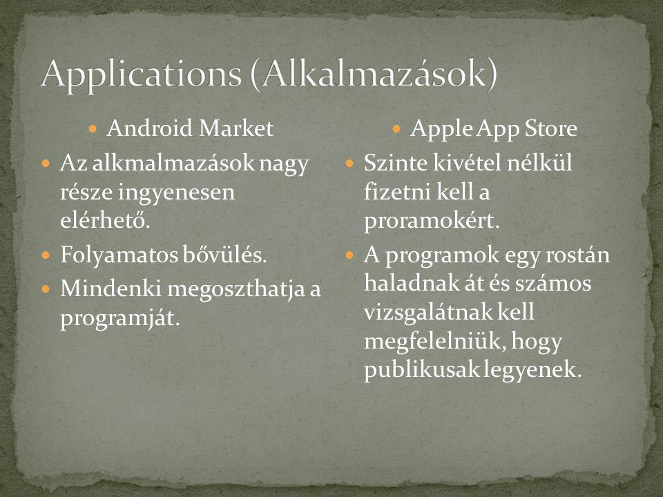 Android Market Az alkmalmazások nagy része ingyenesen elérhető.