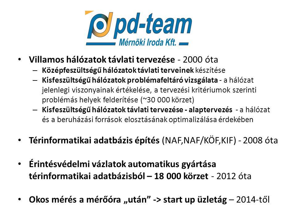 """PD-Team Villamos hálózatok távlati tervezése - 2000 óta – Középfeszültségű hálózatok távlati terveinek készítése – Kisfeszültségű hálózatok problémafeltáró vizsgálata - a hálózat jelenlegi viszonyainak értékelése, a tervezési kritériumok szerinti problémás helyek felderítése (~30 000 körzet) – Kisfeszültségű hálózatok távlati tervezése - alaptervezés - a hálózat és a beruházási források elosztásának optimalizálása érdekében Térinformatikai adatbázis építés (NAF,NAF/KÖF,KIF) - 2008 óta Érintésvédelmi vázlatok automatikus gyártása térinformatikai adatbázisból – 18 000 körzet - 2012 óta Okos mérés a mérőóra """"után -> start up üzletág – 2014-től"""