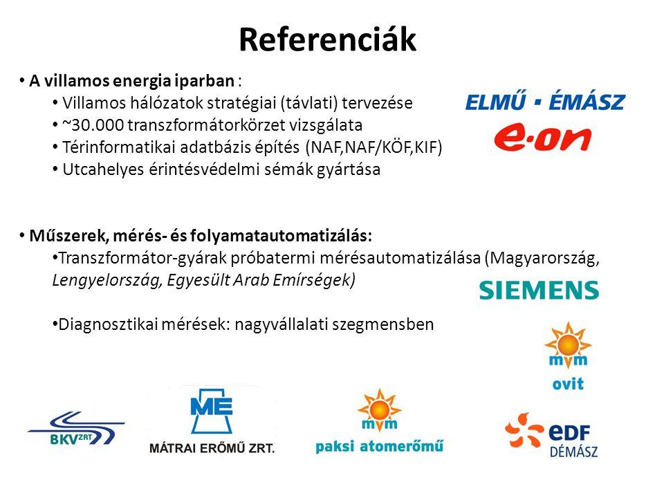 Referenciák A villamos energia iparban : Villamos hálózatok stratégiai (távlati) tervezése ~30.000 transzformátorkörzet vizsgálata Térinformatikai adatbázis építés (NAF,NAF/KÖF,KIF) Utcahelyes érintésvédelmi sémák gyártása Műszerek, mérés- és folyamatautomatizálás: Transzformátor-gyárak próbatermi mérésautomatizálása (Magyarország, Lengyelország, Egyesült Arab Emírségek) Diagnosztikai mérések: nagyvállalati szegmensben