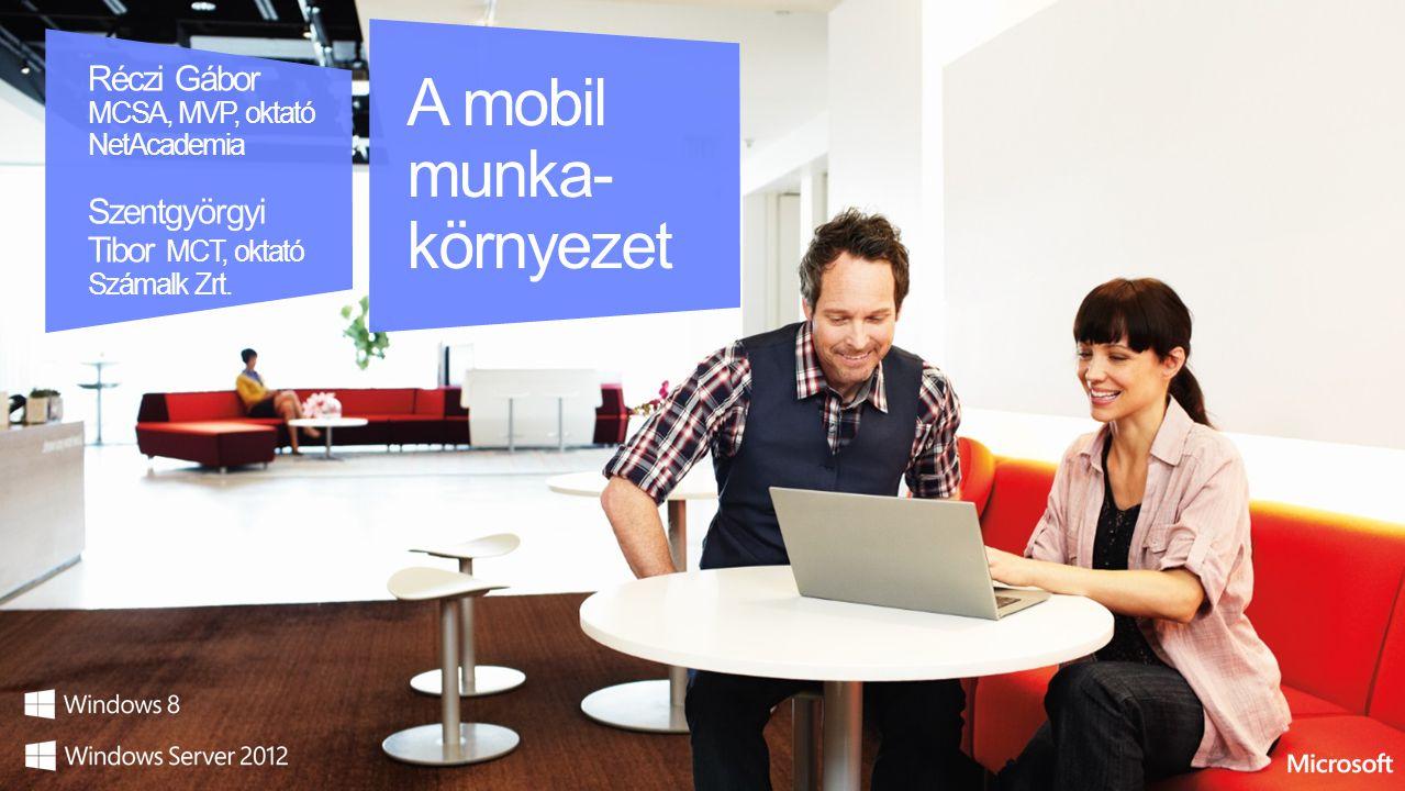 A mobil munka- környezet Réczi Gábor MCSA, MVP, oktató NetAcademia Szentgyörgyi Tibor MCT, oktató Számalk Zrt.