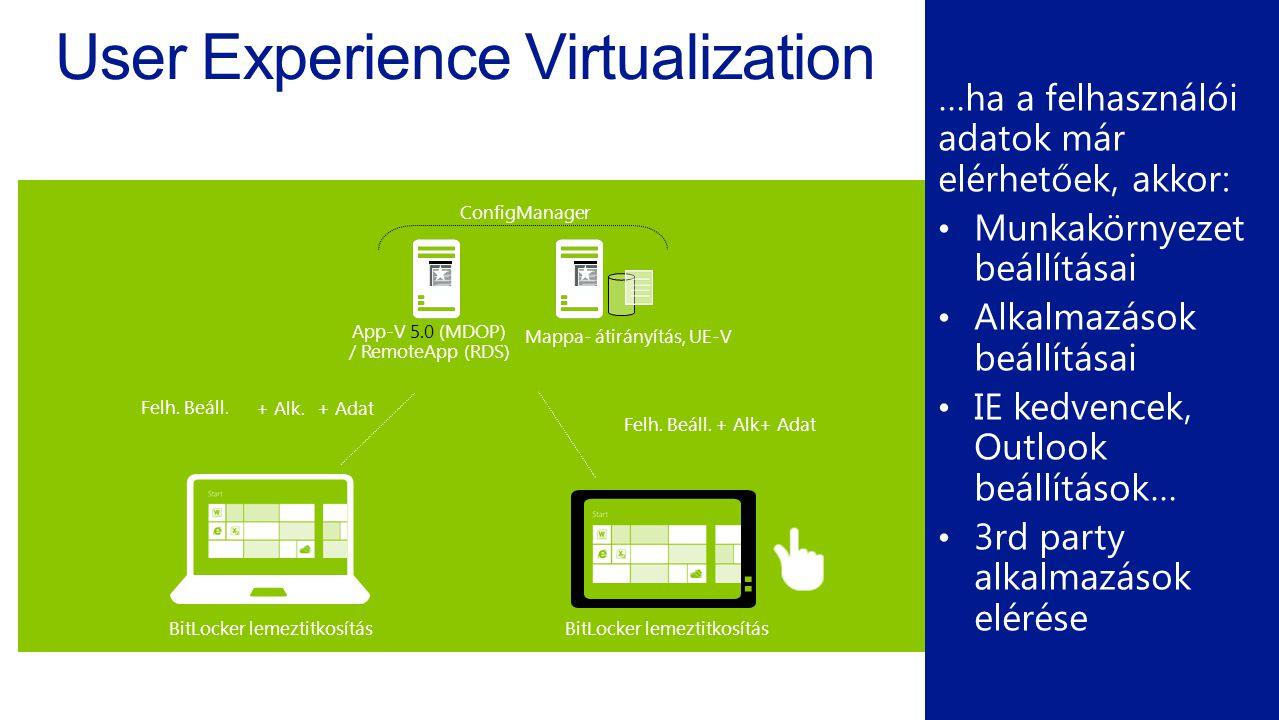User Experience Virtualization …ha a felhasználói adatok már elérhetőek, akkor: Munkakörnyezet beállításai Alkalmazások beállításai IE kedvencek, Outlook beállítások… 3rd party alkalmazások elérése App-V 5.0 (MDOP) / RemoteApp (RDS) Mappa- átirányítás, UE-V ConfigManager Felh.