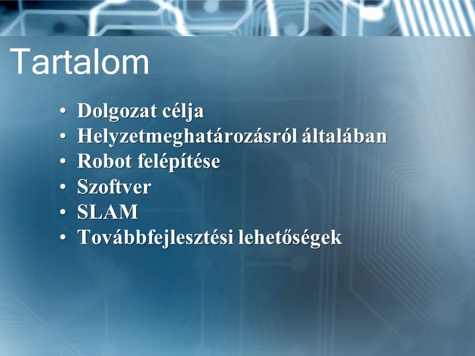 Tartalom Dolgozat céljaDolgozat célja Helyzetmeghatározásról általábanHelyzetmeghatározásról általában Robot felépítéseRobot felépítése SzoftverSzoftv