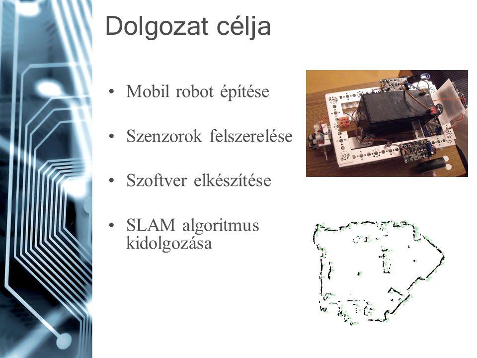 Dolgozat célja Mobil robot építése Szenzorok felszerelése Szoftver elkészítése SLAM algoritmus kidolgozása